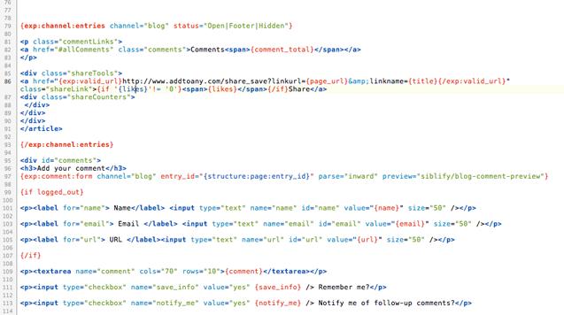 ExpressionEngine 2 syntax mode for Coda 2