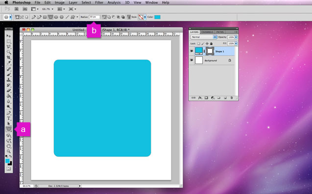 Draw a rounded rectangle in Photoshopo