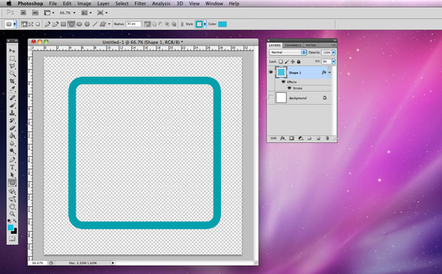 Creating a hollow box with rounded corners for web backgrounds using Photoshop CS5