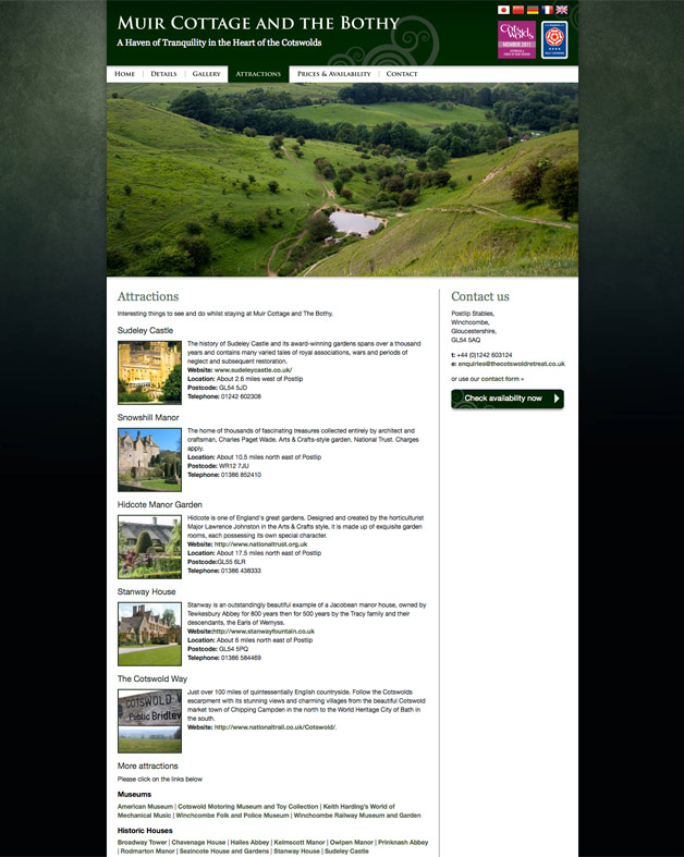 Muir Cottage - Attractions page