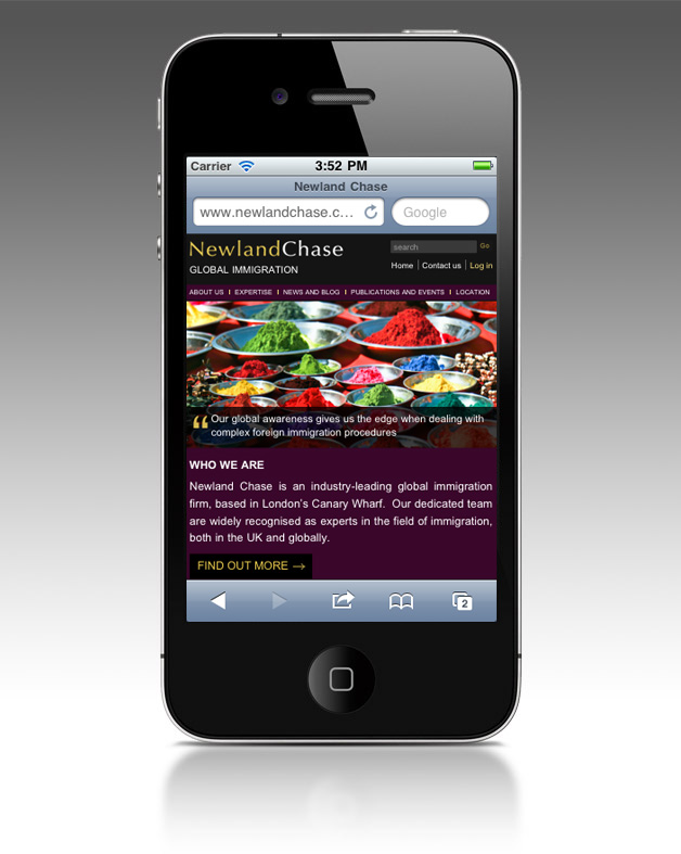 Newland Chase iPhone homepage